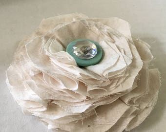Vintage Fabric Flower Brooch Pin