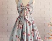 Blue dress Blue floral dress Blue party dress floral party dress floral sundress Blue bridesmaid dresses floral bridesmaid dresses