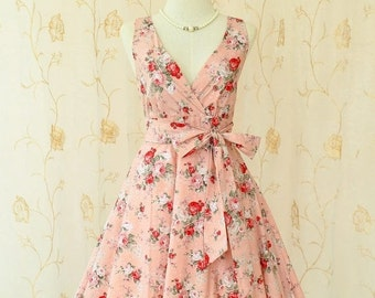 Christmas SALE My Lady II Spring Summer Sundress Floral Vintage Design Dusty Pink Rose Party Dress Tea Dress Bridesmaid Dress Floral Summer