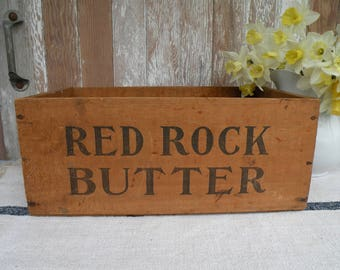 Vintage RED ROCK Butter box ,  wood crate Pantry Box , Kitchen Display