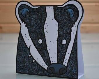 3D Badger Card Creature Card - folding popup blank inside card, badger greeting card, badger card, woodland creature card, blank card