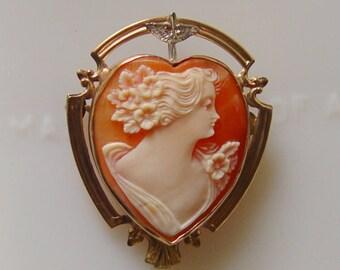 Unusual 10K Gold Heart Shaped Cameo Brooch Pin/ Pendant Combo Sweetheart Jewelry