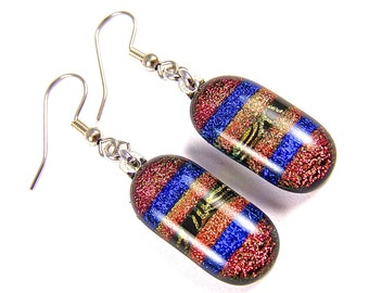 """Dichroic Earrings - Orange Blue Gold Rainbow Stripes Patterned Fused Glass - Surgical Steel French Dangles Convert to Clip On - 1"""""""