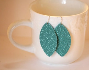 Turquoise Blue Pebbled Leather Marquis Drop Earrings