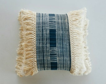 Indigo Hmong and Mudcloth Pillow Cover with Fringe - Tribal Bohemian Pillow - Boho Pillows