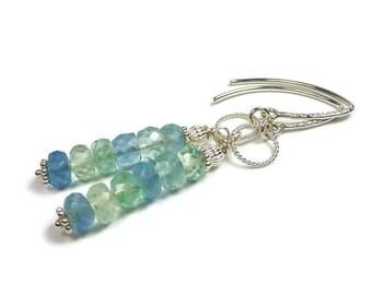 Rainbow Fluorite Earrings, Sterling Silver, Blue Stone, Green Stone, Beaded Earrings, Semi Precious Jewelry