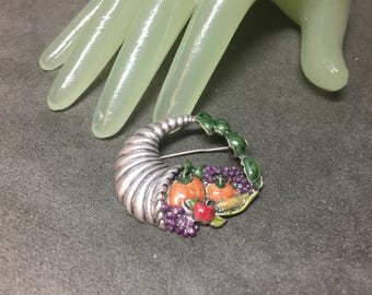 "Vintage 1 3/4"" Silvertone Enamel Painted Cornucopia Harvest Pin - TC"