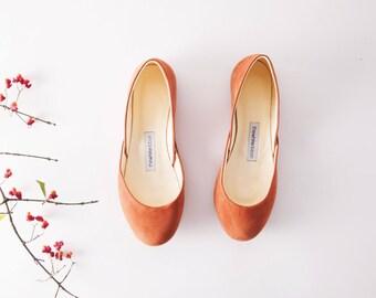 The Nubuck Ballet Flats | Cognac Brown Ballet Shoes | Casual Wear Leather Ballet Pumps in Terra Cotta