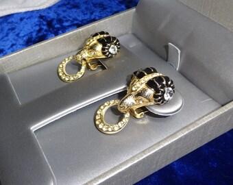 Vintage Gay Boyer earrings Enamel and rhinestone Ram clip on Earrings