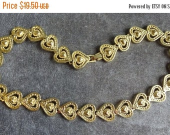 ON SALE Vintage Gold Heart Necklace, Gold plated cut out heart link necklace