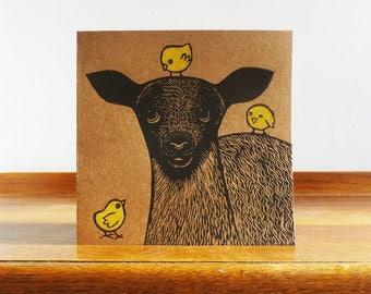 Lamb and Chicks, Original Hand Printed Card, Linocut Card, Blank Greeting Card, Brown Kraft card,  Free Postage in UK,