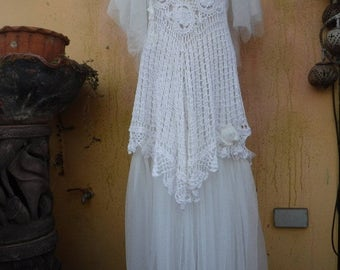 20%OFF 20 PercentOFF , wedding dress, bridal dress, wedding, formal dress, shabby dress, tattered dress, bohemian, crochet dress, gypsy dres