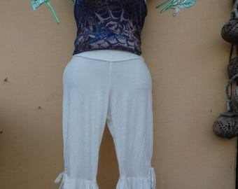 "20%OFF lagenlook white 3/4 pants with ruffles...small to firmer 36"" hips or waist...."