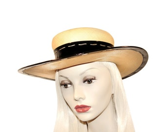 Yves Saint Laurent Hat, Fine Straw and Black Patent, Vintage 1970s
