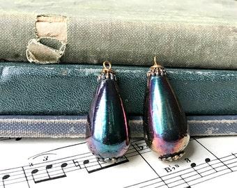 2 - Vintage Multi-colored Drops / Unique Colors / Teardrop Brown Blues / DIY Earrings / Rescued Drops (F5)