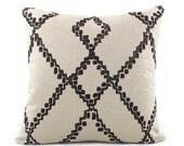 Black Batik Pillow Cover, 18x18, 20x20, 22x22 Eurosham or Lumbar Pillow, Ikat Throw Pillow, Black & Oatmeal, Accent Pillow, Lacefield Medina