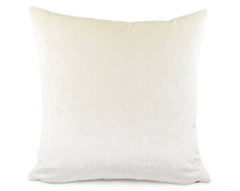 Cream Velvet Throw Pillow Cover, Custom Size 18x18, 20x20, 22x22, Lumbar Pillow, Velvet Pillow for Couch, Off White Cushion, Accent Pillow