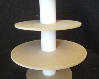 3 Tier Round Unfinished Custom Made Cupcake Stand. Can hold up to 32 cupcakes.