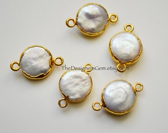 Freshwater Pearl Coin Connector, Pearl Pendant, Gold Dipped Freshwater Pearl Pendant 20 x 13mm