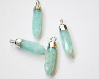 One Amazonite Sterling Silver Bullet Point Pendant  23 x 5mm