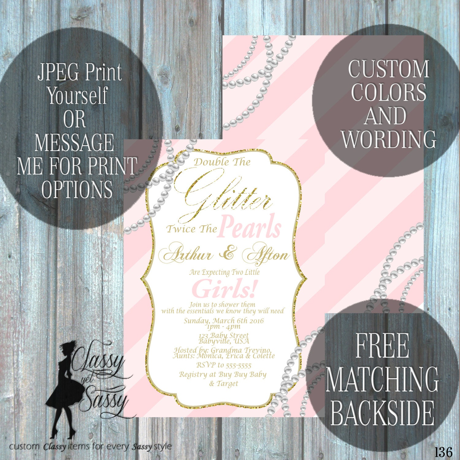 Twin Girls Baby Shower Invitation, Double the Glitter Double the ...