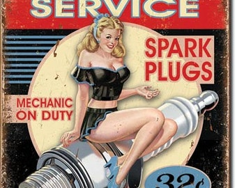 Vintage Style Tin Sign, Dependable service  spark plugs, man cave, USA, garage decor, wall hanging