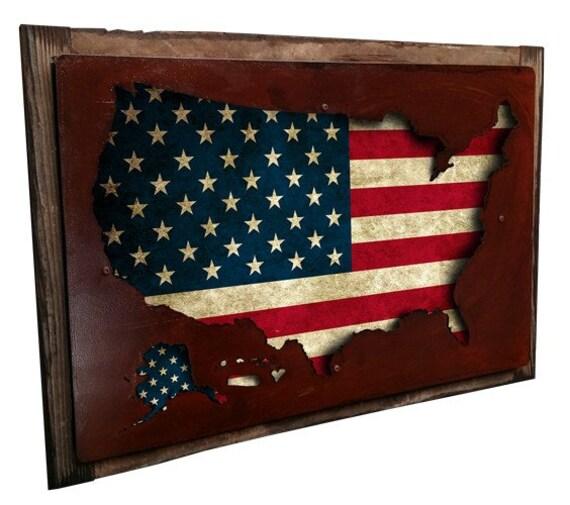 Americana Wall Decor Plaques Signs: USA Flag Map Metal Sign On Barn Wood Frame Wall Art