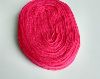 Thin Wool Pencil Roving/Pre-Yarn, Spinning, Felting or Knitting Fiber, Hot Pink