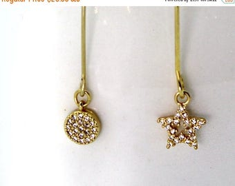 20% off. Micro Pave Moon and Star Earrings. Tiny CZ Moon and Star Earrings in Dainty Earrings in Gold or Silver. E-G-2024
