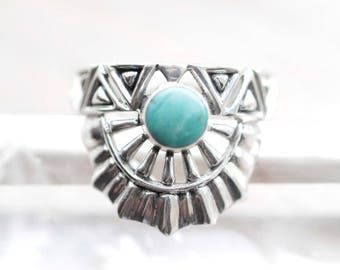 Genuine Turquoise Ring, 925 Sterling Silver Ring, Aztec Ring, Boho Rings, Bohemian RIng, Carved Ring, Personalised Ring