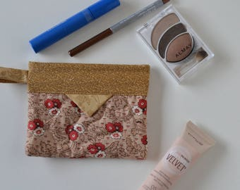 Cotton Cosmetic Pouch, Patchwork Quilted Snap Bag, Jewellery Pouch tan red floral