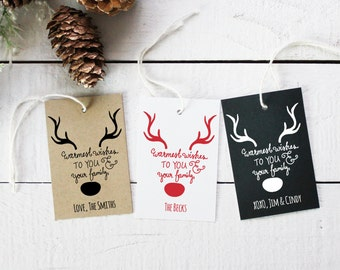 Warmest Wishes Holiday Gift Tags | Christmas Gift Tags | Christmas Present Tags | Personalized Holiday Tags | Holiday Favor tags - Set of 12