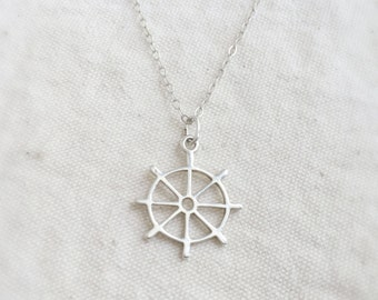 In this sail (necklace) - Small and delicate sterling silver steering wheel