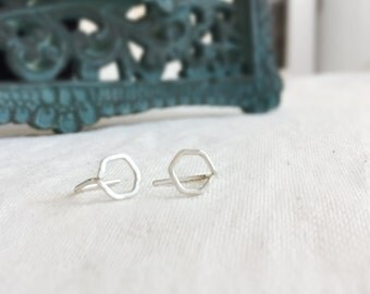 Beth (earrings) - Sterling silver hexagon stud, small, chic, new, modern
