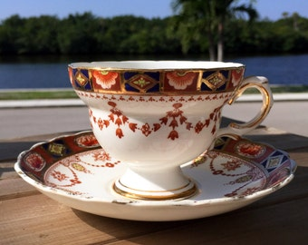 Rosina Tea Cup and Saucer, English Bone China Footed Teacup 13820