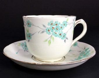 Vintage Teacup, Tea Cup and Saucer, Old Royal China, Sampson Smith, English Bone China 13881