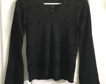 Womens 90's black long bell sleeve semi sheer V neck sweater top with balloon and pyramid peekaboo designs