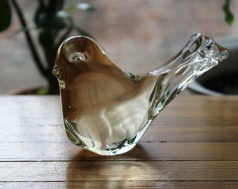 Vintage Clear Glass Bird Figurine
