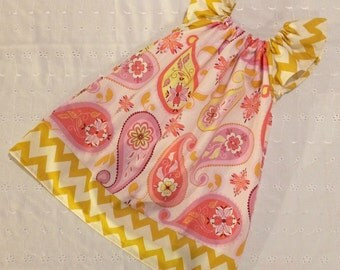 Peasant Style Butterfly dress - Pink Paisley Yellow Chevron - Pick your size Newborn through 8 Years