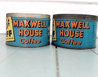 Coffee Time... Vintage  Maxwell House Coffee Can, Tin, Planter, Kitchen Decor, Blue, Set of two
