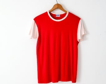vintage jersey t-shirt, SBT & T red and white tee
