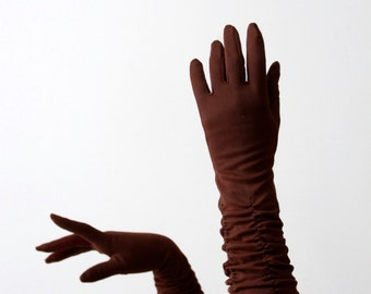 vintage 1950s classic length gloves, brown nylon evening gloves