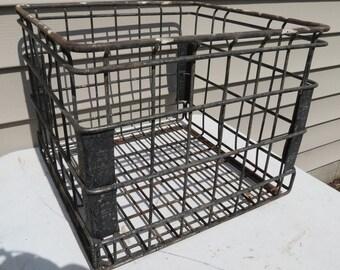 Vintage Metal Wire Milk Crate.
