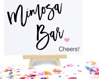 Mimosa Bar Sign, Party Signage, Bridal Shower Decoration, Wedding Reception Bar Menu - Size 5 x 7, MADI, Printed Sign