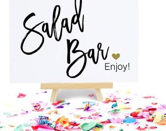 Salad Bar Sign, Party Signage, Bridal Shower Decoration, Wedding Reception Buffet, Food Station - Size 5 x 7, MADI, Printed Sign