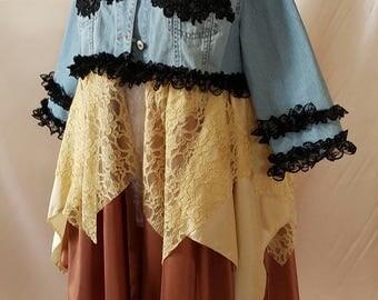 Plus Size Boho Upcycled Denim Jacket size 14/16  Hippy Stevie Nicks Fairy Couture Lagenlook Bohemian  OOAK Wearable Art *SUNSHINE*