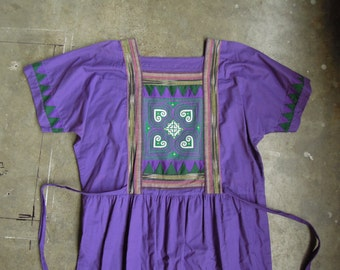 Vtg Handmade Cotton Batik Quilted Patchwork Easy Dress Size Small Medium to Large