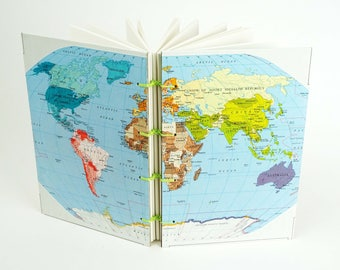 World Map Journal, Reclaimed Map Notebook, Travel Journal, Gap Year World Notebook, Sketchbook