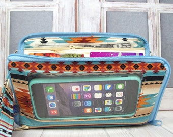 Womens Wallet • cell phone wallet • Bifold • Zip Around • Southwestern • Keep in Touch MEGA Wallet  • 1b