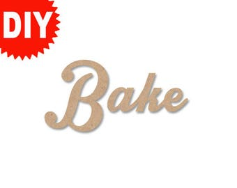 """Bake sign Personalized Word Custom Name Decor 16"""" Unfinished word DIY Word DIY Name Decor Kitchen decor Kitchen sign- intrique"""